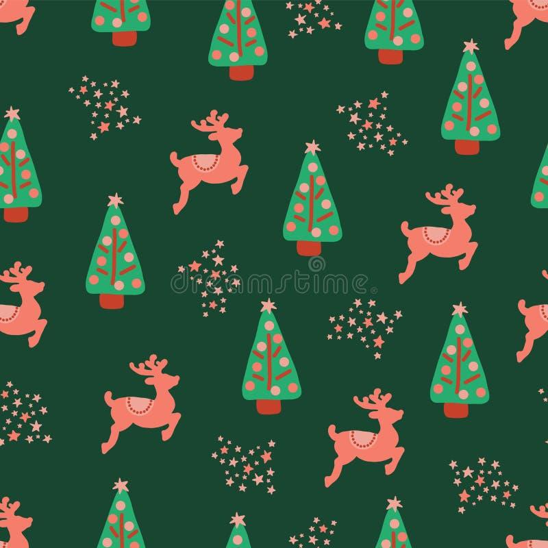 Van het de bomenrendier van de Kerstmisvakantie het vectorpatroon royalty-vrije illustratie