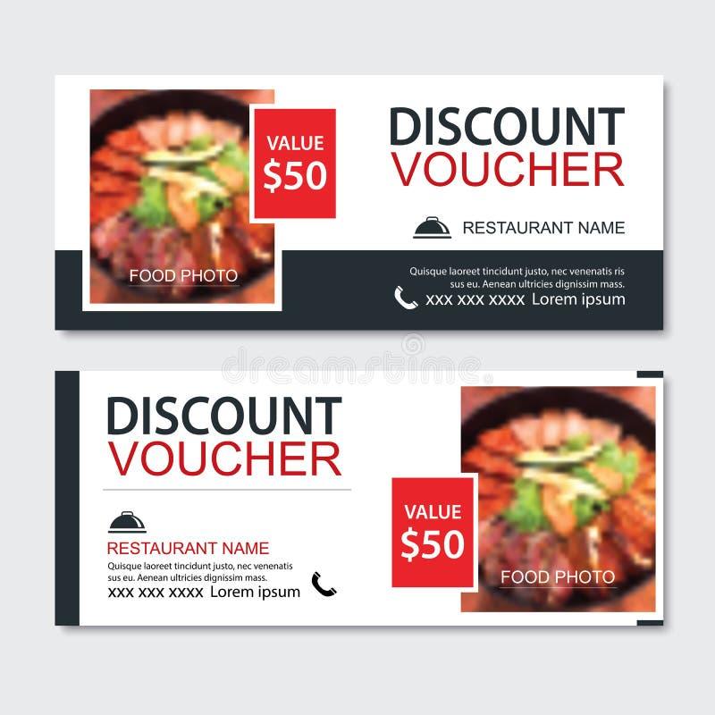 Van het de bon Aziatisch voedsel van de kortingsgift het malplaatjeontwerp Koreaanse en Japanse reeks Gebruik voor coupon, banner stock illustratie