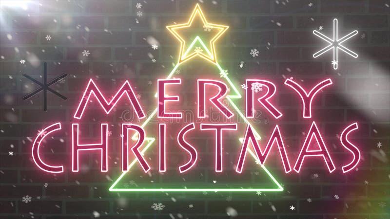 Van het de boomneon van neon de Vrolijke Kerstmis banner van de het tekengelukwens met ster en sneeuwvlokken die op bakstenen muu royalty-vrije illustratie