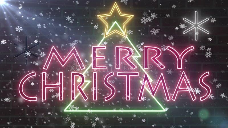Van het de boomneon van neon de Vrolijke Kerstmis banner van de het tekengelukwens met ster en sneeuwvlokken die op bakstenen muu vector illustratie
