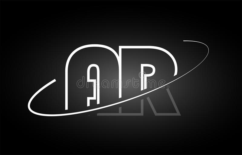 Van het de brievenalfabet van AR A R ontwerp van het het embleem het zwarte witte pictogram vector illustratie