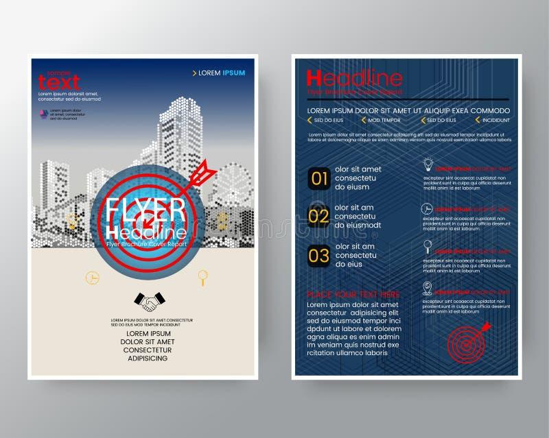 Van het de Brochure jaarverslag van de doelpijl van de de dekkingsvlieger van het de Afficheontwerp de Lay-outmalplaatje in A4 gr royalty-vrije illustratie