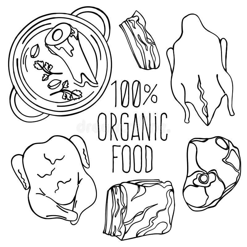 Van het de Carnivoordieet van het VLEESvoedsel Organische Vector de Illustratiereeks royalty-vrije illustratie