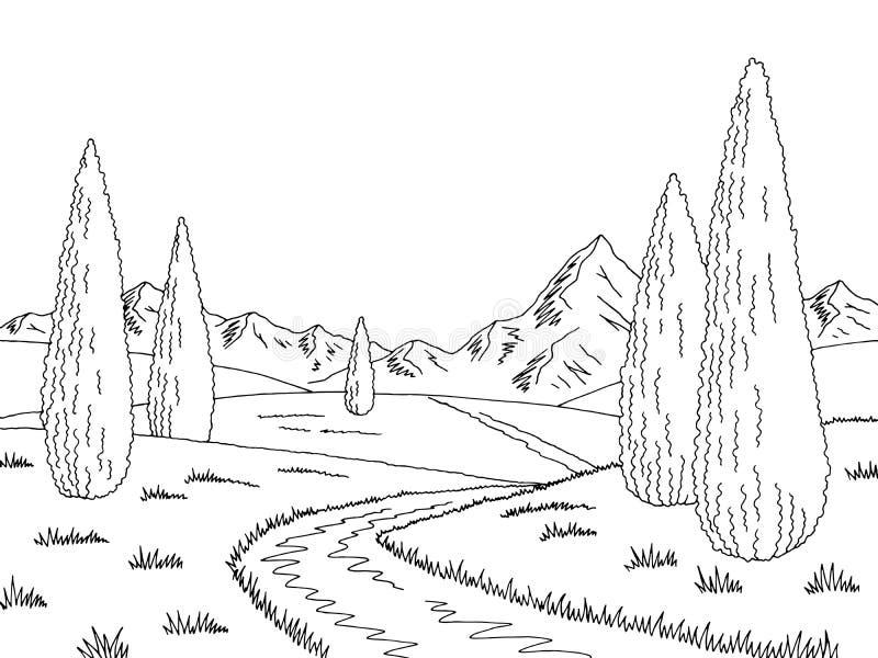Van het de cipres zwarte witte landschap van de bergweg de grafische vector van de de schetsillustratie vector illustratie