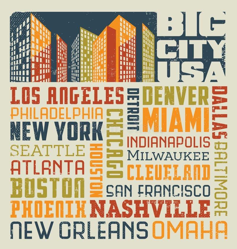 van het de collageontwerp van het typografiewoord de steden van Verenigde Staten stock illustratie