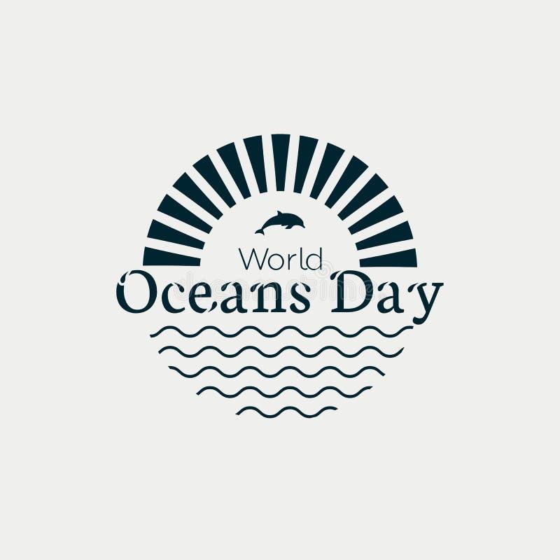 Van het de Dag het moderne concept van wereldoceanen zwart-wit embleem met golven, zon en dolfijnen stock illustratie