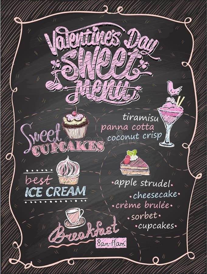 Van het de dag zoet menu van Valentine ` s het bordontwerp royalty-vrije illustratie