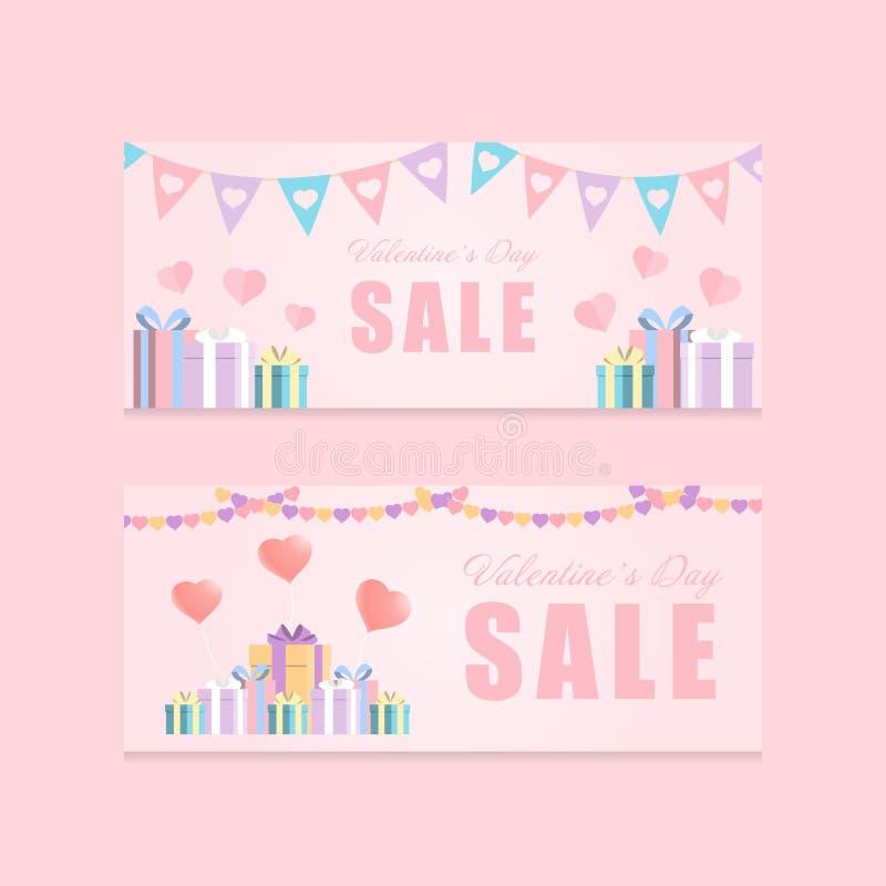 Van het de dagthema van Valentine van het liefdefestival van de de kleurentoon roze van de de bevorderingsbanner de verkoop vecto royalty-vrije illustratie