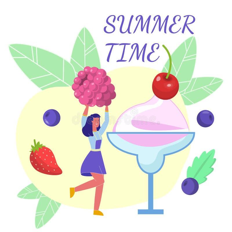 Van het de Desserts Vlak Web van de de zomertijd de Bannermalplaatje stock illustratie