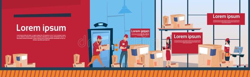 Van het de Dienstpakhuis van koeriersman and woman Carry Boxes Delivery Package Post Ruimte van het de Bannerexemplaar de Binnenl vector illustratie