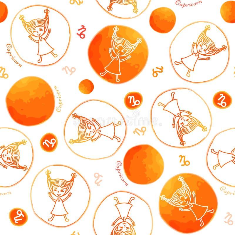 Van het de dierenriemteken van Steenbok het naadloze patroon vector illustratie