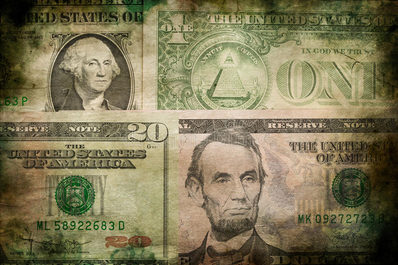 Van het de dollargeld van de V.S. de achtergrond van de de bankbiljettentextuur grunge stock fotografie