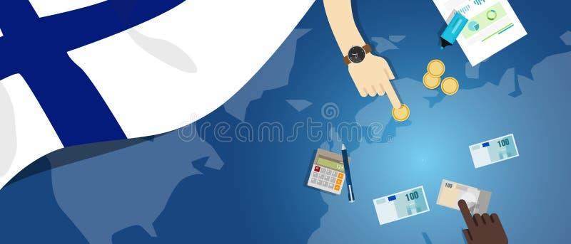 Van het de economie de fiscale geld van Finland illustratie van het de handelsconcept van financiële bankwezenbegroting met vlagk stock illustratie