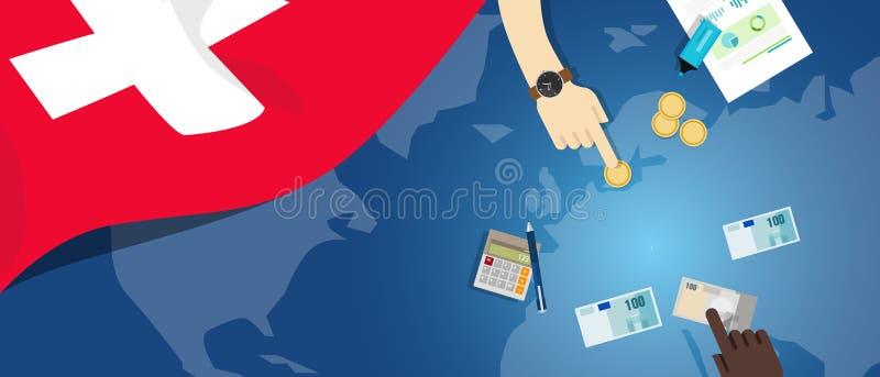 Van het de economie de fiscale geld van Zwitserland illustratie van het de handelsconcept van financiële bankwezenbegroting met v royalty-vrije illustratie