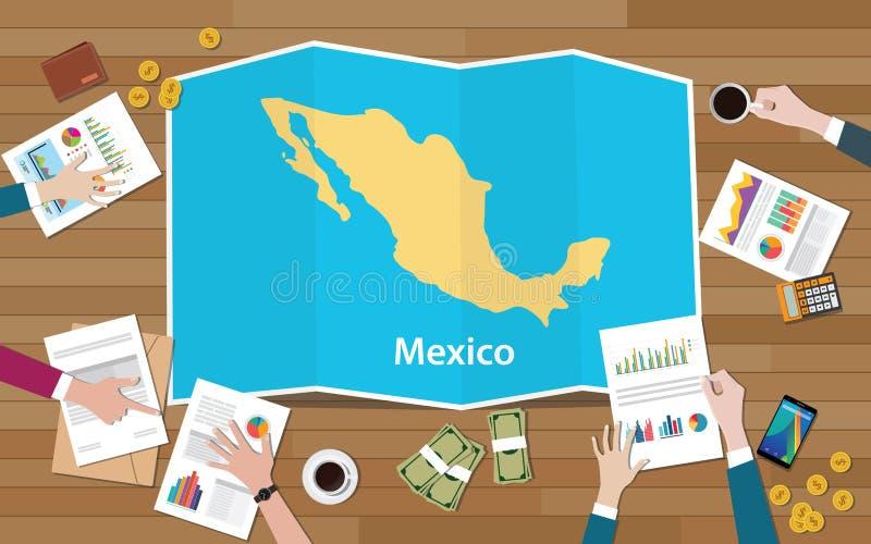 Van het de economieland van Mexico het team van de de groeinatie bespreekt met vouwenkaarten mening vanaf bovenkant vector illustratie