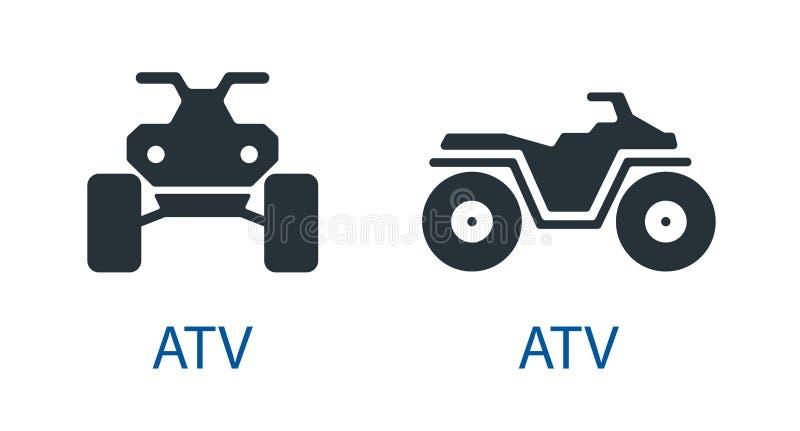 Van het de fiets atv pictogram van de voertuigvierling het vooraanzicht off-road motorfietsen geschikt voor elk terrein geplaatst stock foto