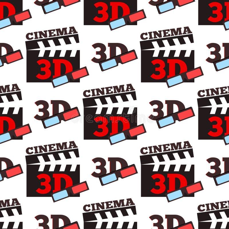 Van het de filmvermaak van de bioskoop 3d vectorillustratie van het de stadstheater naadloze patroon royalty-vrije illustratie