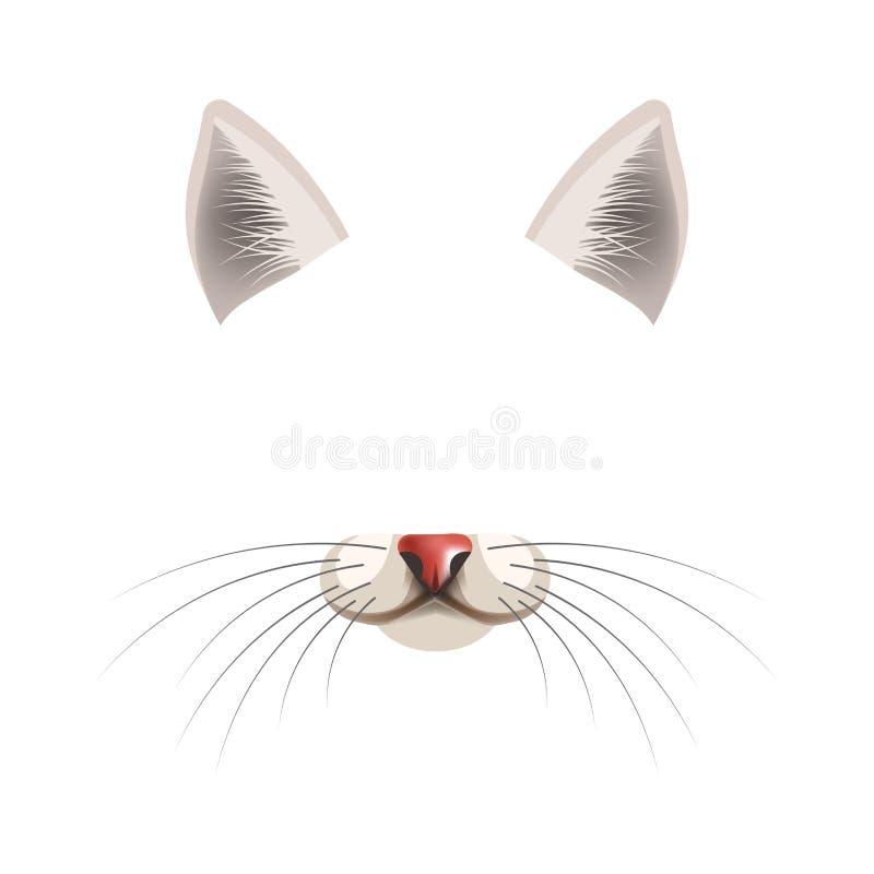 Van het de filtermalplaatje van het katten dierlijk gezicht het effect van de het praatjefoto videovector geïsoleerd pictogram royalty-vrije illustratie