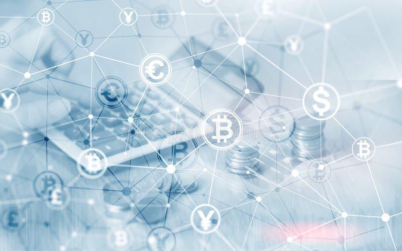 Van het de Financi?nweb van de Bitcoin Euro Dollar het Geldconcept Ñoins bij de virtuele het scherm dubbele blootstelling vector illustratie