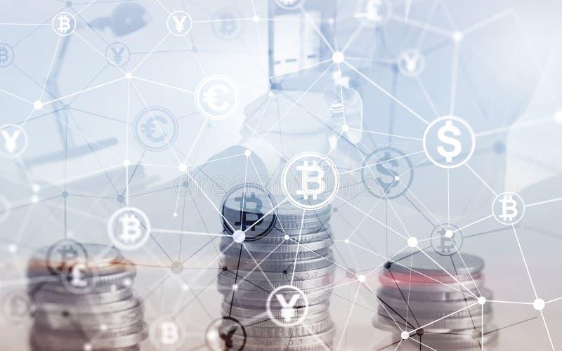 Van het de Financi?nweb van de Bitcoin Euro Dollar het Geldconcept oins bij de virtuele het scherm dubbele blootstelling stock illustratie