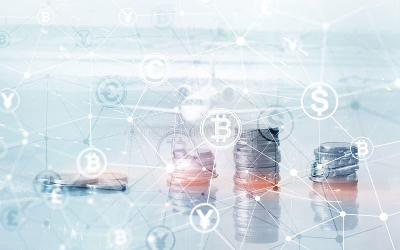 Van het de Financi?nweb van de Bitcoin Euro Dollar het Geldconcept oins bij de virtuele het scherm dubbele blootstelling royalty-vrije stock afbeelding