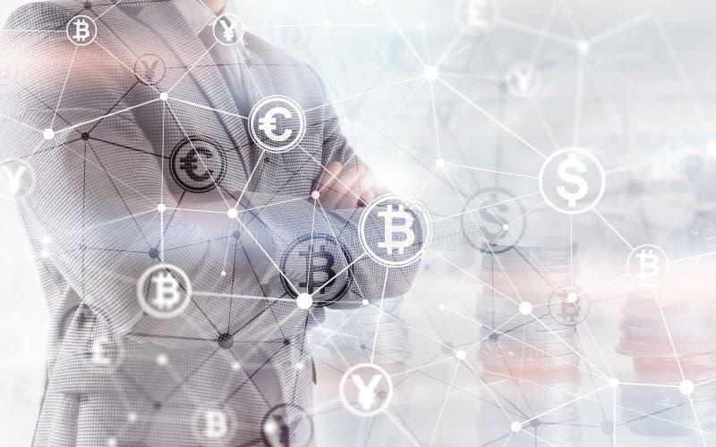 Van het de Financi?nweb van de Bitcoin Euro Dollar het Geldconcept oins bij de virtuele het scherm dubbele blootstelling royalty-vrije illustratie
