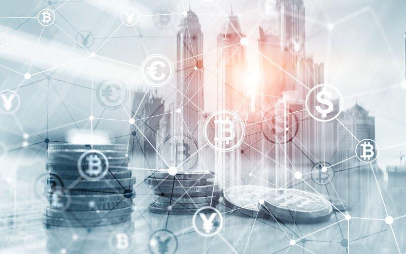 Van het de Financi?nweb van de Bitcoin Euro Dollar het Geldconcept oins bij de virtuele het scherm dubbele blootstelling stock afbeelding