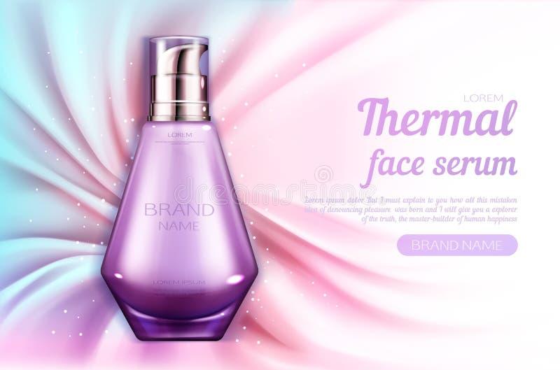 Van het de flessenmodel van het schoonheidsmiddelenserum thermisch het gezichtsproduct royalty-vrije illustratie