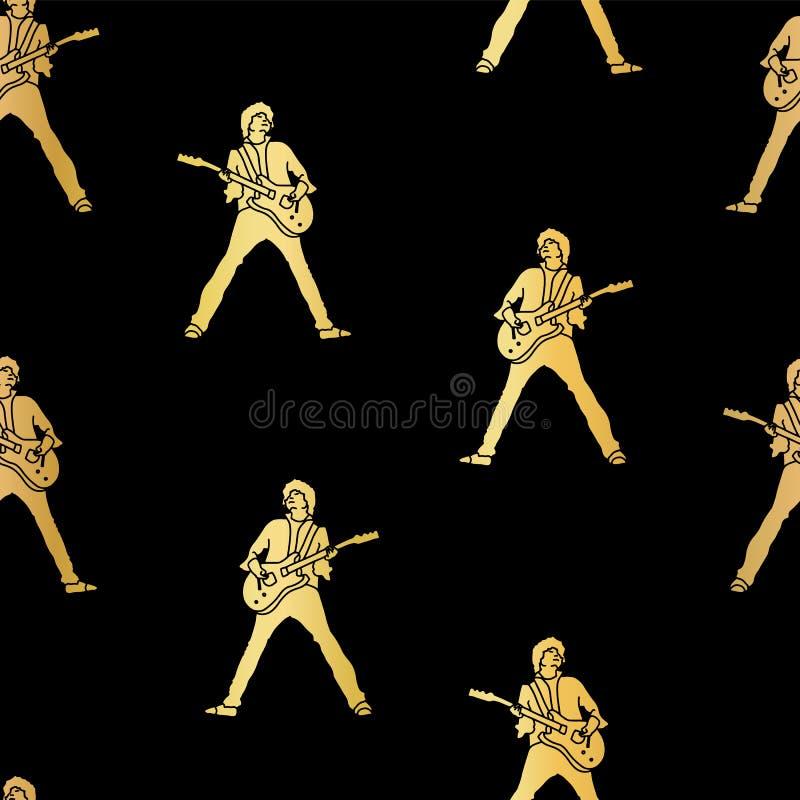 Van het de foliesilhouet van de gitaarspeler gouden vector naadloze het patroonillustratie Gouden silhouetten op een zwarte achte royalty-vrije illustratie