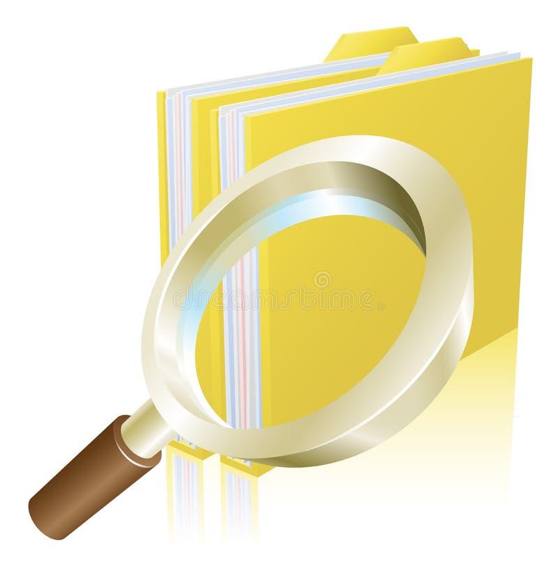 Van het de gegevensdossier van het vergrootglas het concept van het de omslagonderzoek royalty-vrije illustratie