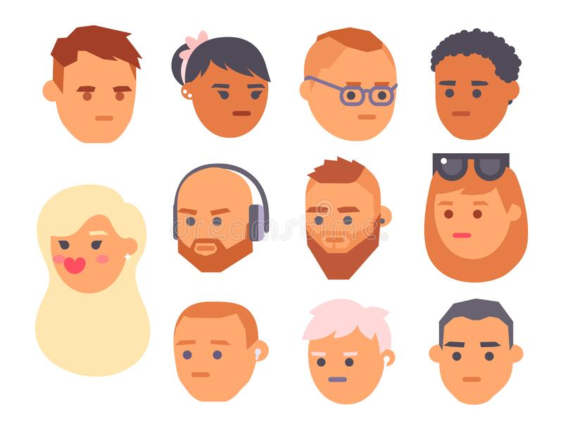 Van het de gezichtenbeeldverhaal van Eemotion vectormensen de emotiesavatar illustratie Vrouw en man de pictogrammen van het emoj royalty-vrije illustratie