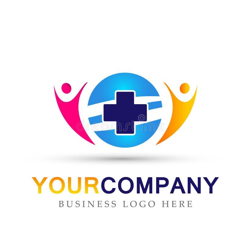 Van het de Gezondheidszorg medisch dwarsembleem van de bolfamilie het pictogramsymbool op witte achtergrond stock illustratie