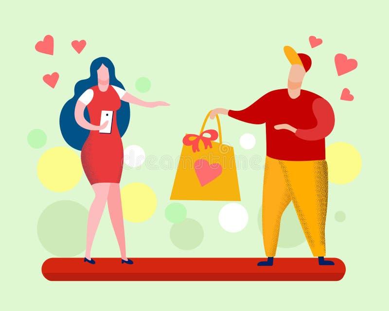 Van het de Giftbeeldverhaal van de valentijnskaartendag de Vectorillustratie vector illustratie