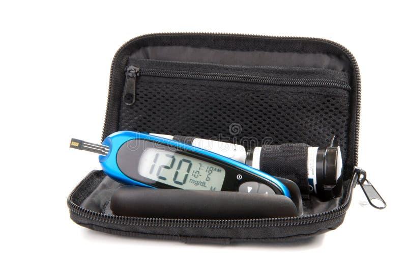 Van het de glucoseniveau van de diabetes de uitrusting van het bloedonderzoekglucometer stock afbeeldingen