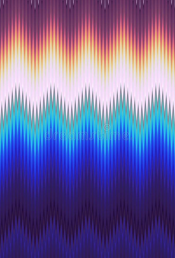 Van het de golfpatroon van de chevronzigzag de kunst abstracte tendensen als achtergrond Holografische iriserende oppervlakte ger royalty-vrije illustratie