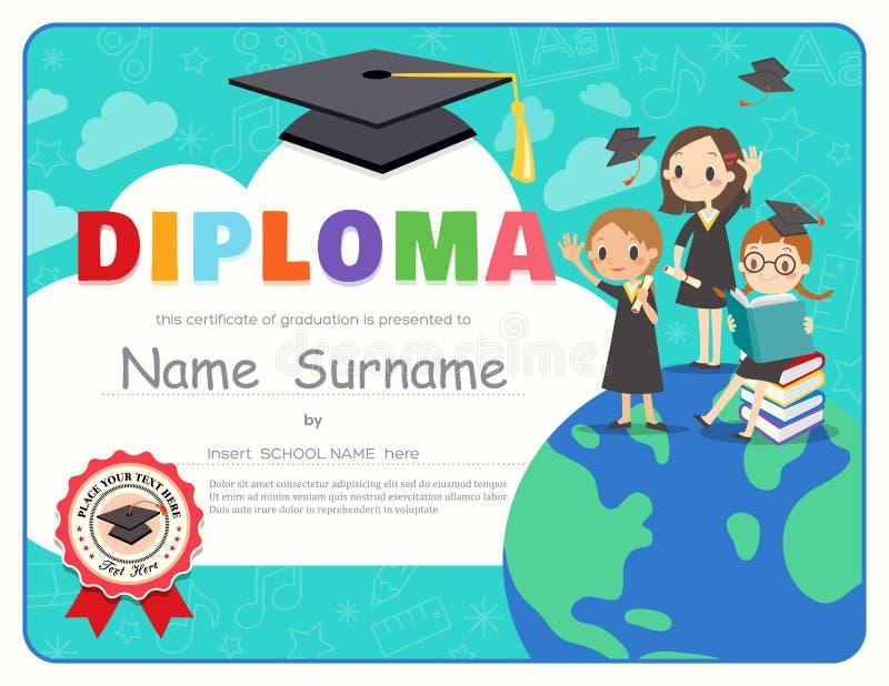 Van het de Graduatiediploma van lage schooljonge geitjes het malplaatje van het het certificaatontwerp royalty-vrije illustratie