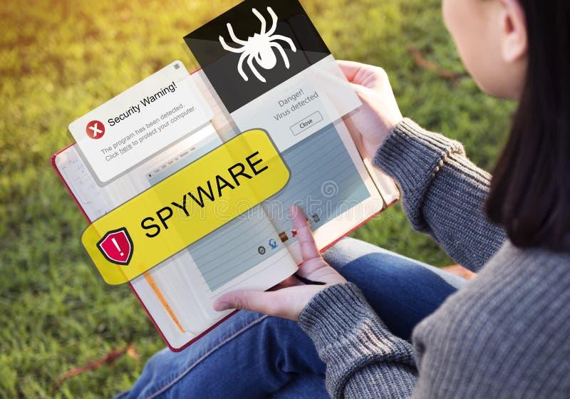 Van het de Hakkervirus van de Spywarecomputer het Concept van Malware stock foto