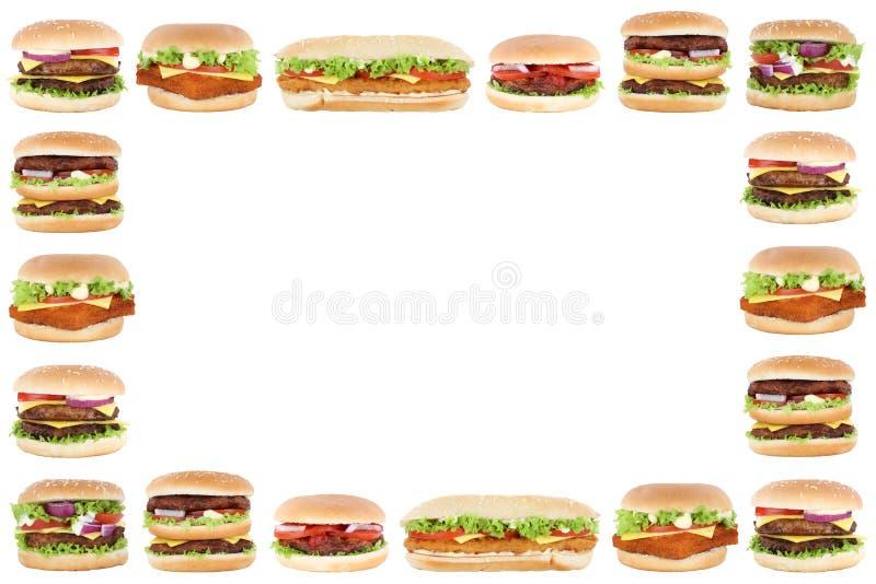 Van het de hamburger copyspace exemplaar van de hamburgercheeseburger ruimte het kadergrens stock fotografie