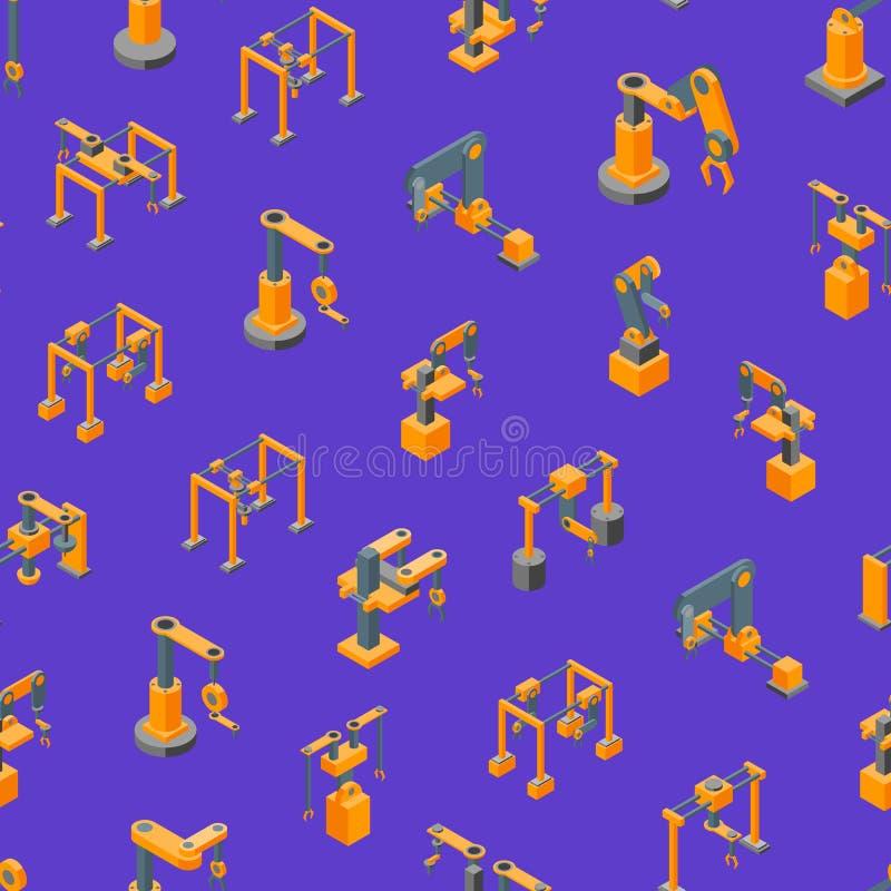Van het de Hand Naadloze Patroon van transportbandmachines Robotachtige Isometrische Mening Als achtergrond Vector vector illustratie