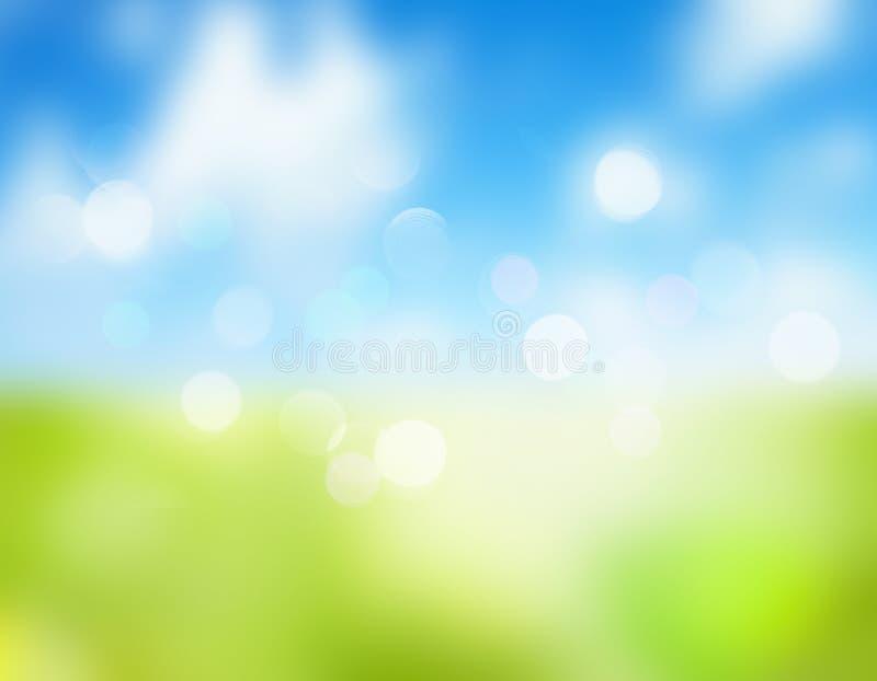 Van het de hemelgras van de de lentezomer de natuurlijke vage achtergrond vector illustratie