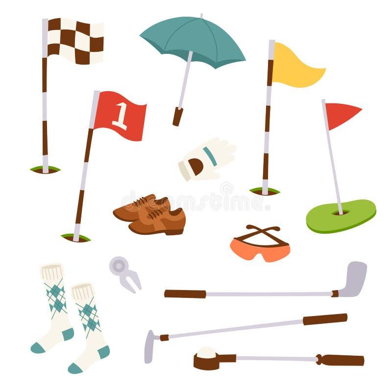 Van het de hobbymateriaal van golfpictogrammen van de de karspeler van het de sportsymbool de golfing van het de vlaggat van het  vector illustratie