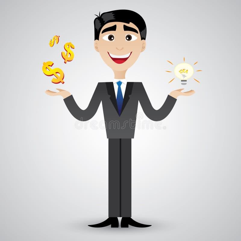 Van het de holdingsidee van de beeldverhaalzakenman de bol en het geld vector illustratie