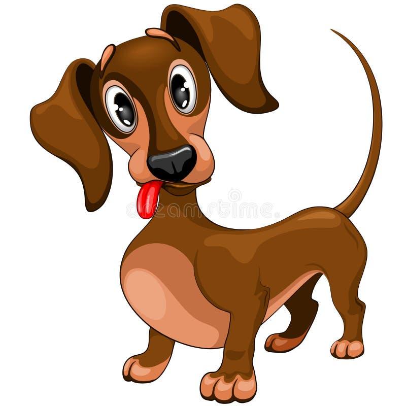 Van het de Hondbeeldverhaal van het tekkel Leuke Verwarde Puppy het Karakter Vectorillustratie stock illustratie