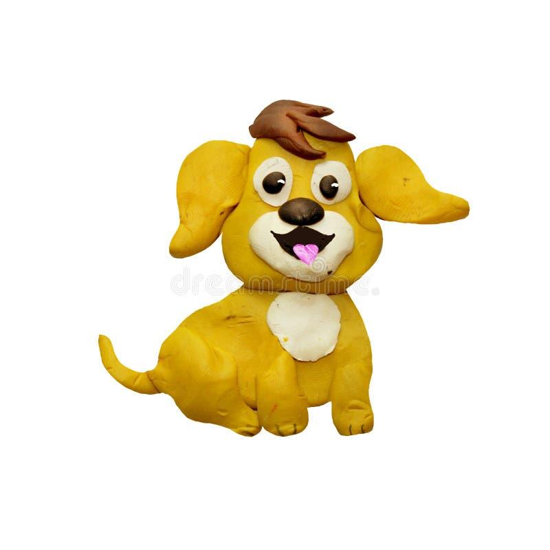 Van het de hondhuisdier van de plasticine 3D baby gele van het het Nieuwjaar 2018 symbool dierlijke geïsoleerde beeldhouwwerk royalty-vrije illustratie