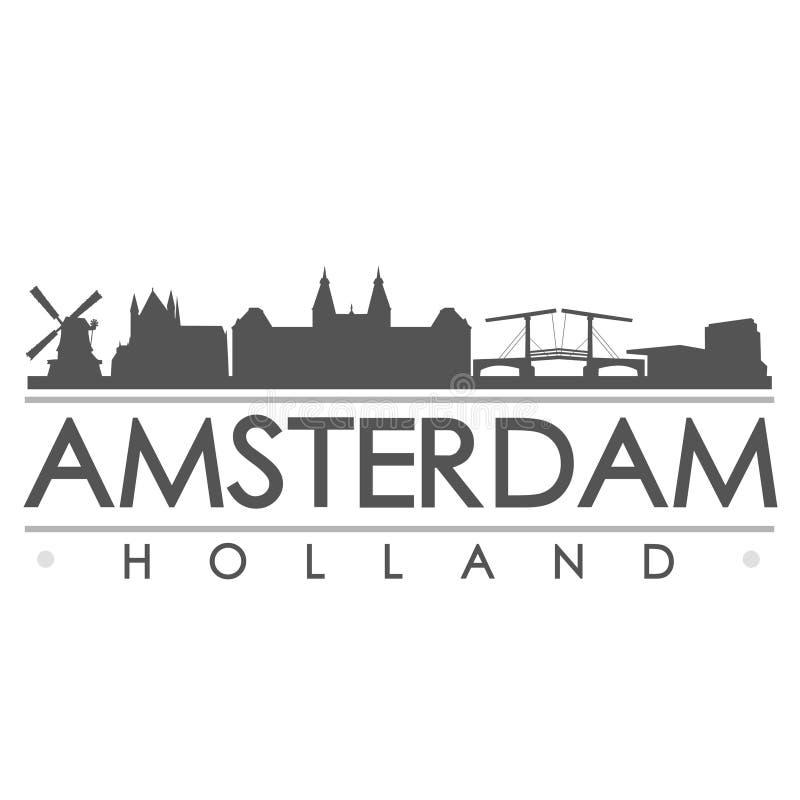 Van het de Horizonsilhouet van Amsterdam van de het Ontwerpstad het Vectorart. vector illustratie