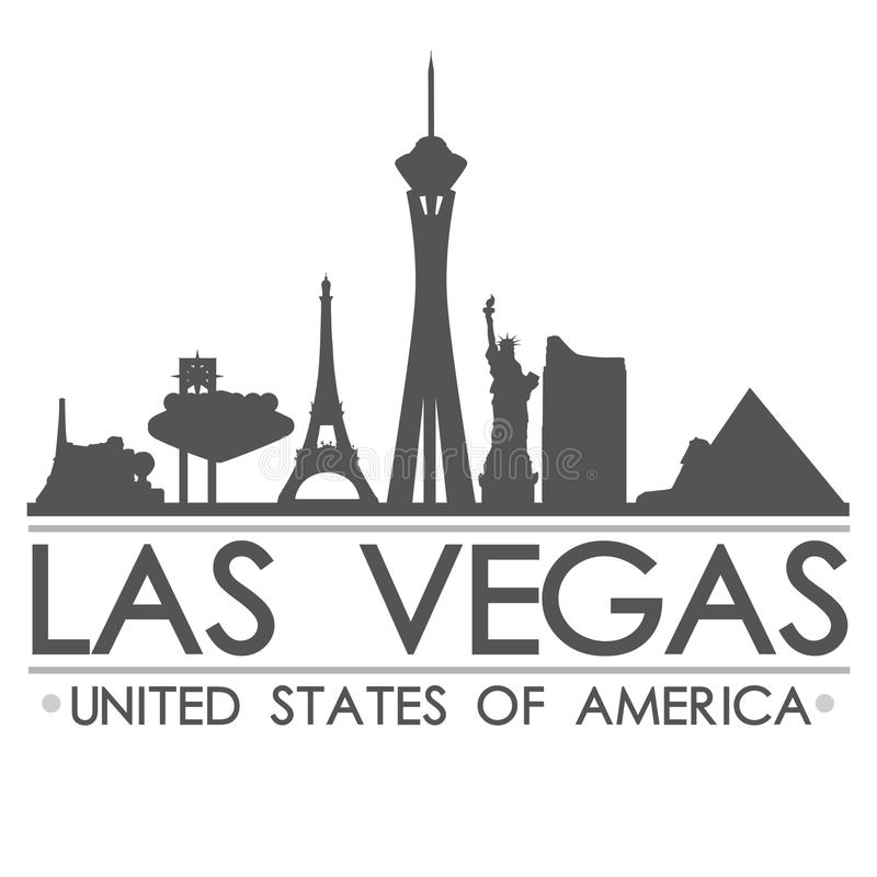 Van het de Horizonsilhouet van Las Vegas van de het Ontwerpstad het Vectorart. vector illustratie