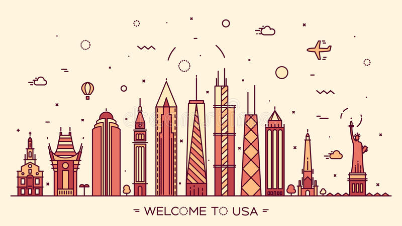 Van het de horizonsilhouet van de V.S. de illustratie lineaire stijl vector illustratie
