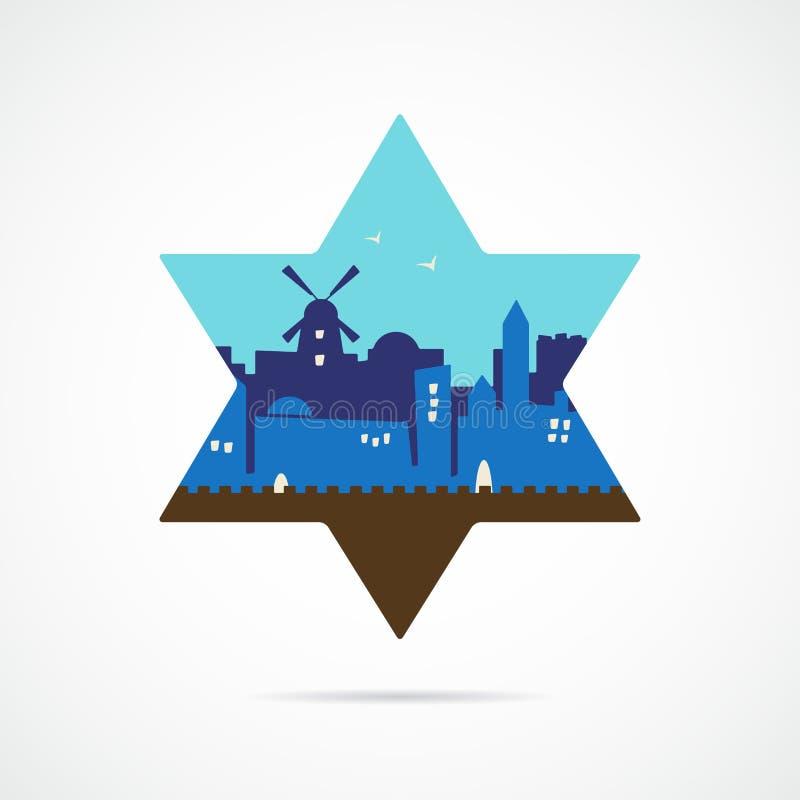 Van het de horizonsilhouet van Jeruzalem Israël het vlakke ontwerp royalty-vrije illustratie