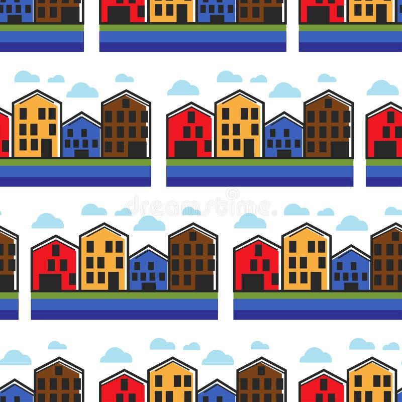Van het de huizenhuis in de stad van Noorwegen naadloze het patroon Noorse architectuur royalty-vrije illustratie