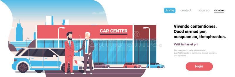 Van het de huurcentrum van de aankoopverkoop de verkopersmens het geven sluit eigenaar nieuwe autotoonzaal buitenachtergrond hori vector illustratie